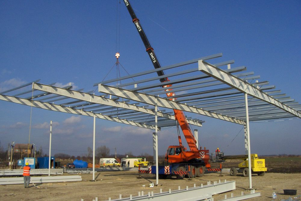 wznoszenie konstrukcji stalowej - hala warsztatowo-magazynowa z częścią biurową, dla BAC Investment, Nowa Wieś Wrocławska