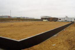 przygotowanie terenu do montażu konstrukcji - hala magazynowa, dla Palgetrans, Wykroty, woj. dolnośląskie
