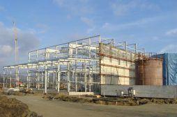 widok ogólny konstrukcji stalowej - hala produkcyjna, dla Lotos, Jasło, woj. podkarpackie