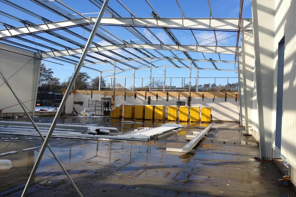 konstrukcja stalowa hali - hala produkcyjna z częścią socjalno-biurową, dla Danmar, Łódź, woj. łódzkie