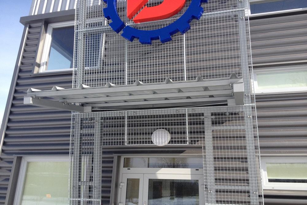 wejście do budynku - hala produkcyjna z częścią socjalno-biurową, dla Danmar, Łódź, woj. łódzkie