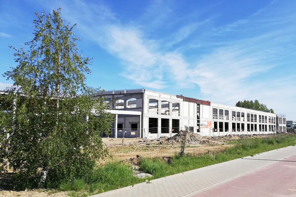 widok na częśc socjalno-biurową, inwestycja zachodniopomorskie, w Koszalinie, Fabryka Flag Linea