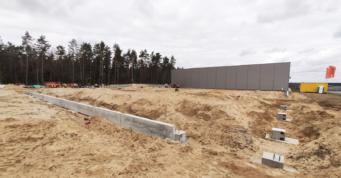 wykonanie stóp i belki podwalinowej oraz podsypki pod posadzkę - budowa hali, dla Viscon Group Poland, teren Słupskiej SSE, woj. pomorskie