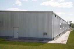 elewacja tylna i boczna - hala produkcyjna z budynkiem biurowym, dla Klippan Safety, Stargard Szczeciński, woj. zachodniopomorskie
