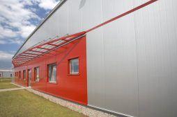 ściana przednia - hala produkcyjno-magazynowa, dla HTMP, Gorzów Wielkopolski, woj. lubuskie