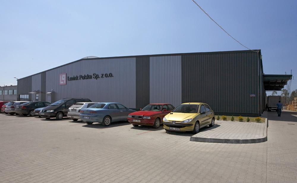 elewacja frontowa - hala produkcyjno-magazynowa z częścią biurową, dla Lovink, Wykroty, woj. dolnośląskie