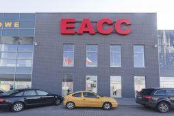 zbliżenie na logo inwestora - hala handlowa, dla EACC Investments, Wólka Kosowska, woj. mazowieckie
