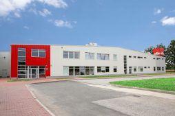 elewacja frontowa - hala produkcyjna z częścią biurową, dla Oras, Olesno, woj. opolskie