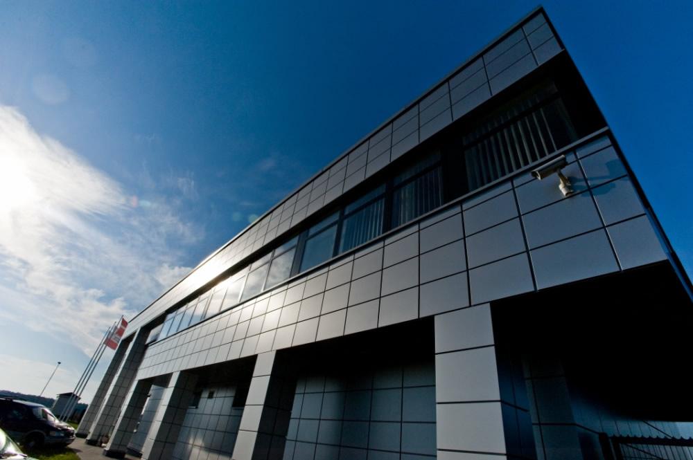 fragment elewacji frontowej 1 - hala produkcyjno-magazynowa z budynkiem biurowym, dla HG Poland, Łozienica, woj. zachodniopomorskie
