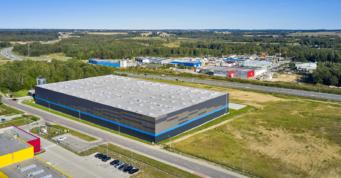 hala dla branży logistycznej, widok z góry - hala logistyczna, dla Indeka Logistic City, Płaszewko, woj. pomorskie, inwestycja w Słupskiej Specjalnej Strefie Ekonomicznej