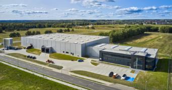 widok ogólny obiektu, ujęcie z drona - budowa dla duńskeigo inwestora, firmy Kentaur, przez CoBouw Polska, w woj. zachodniopomorskim