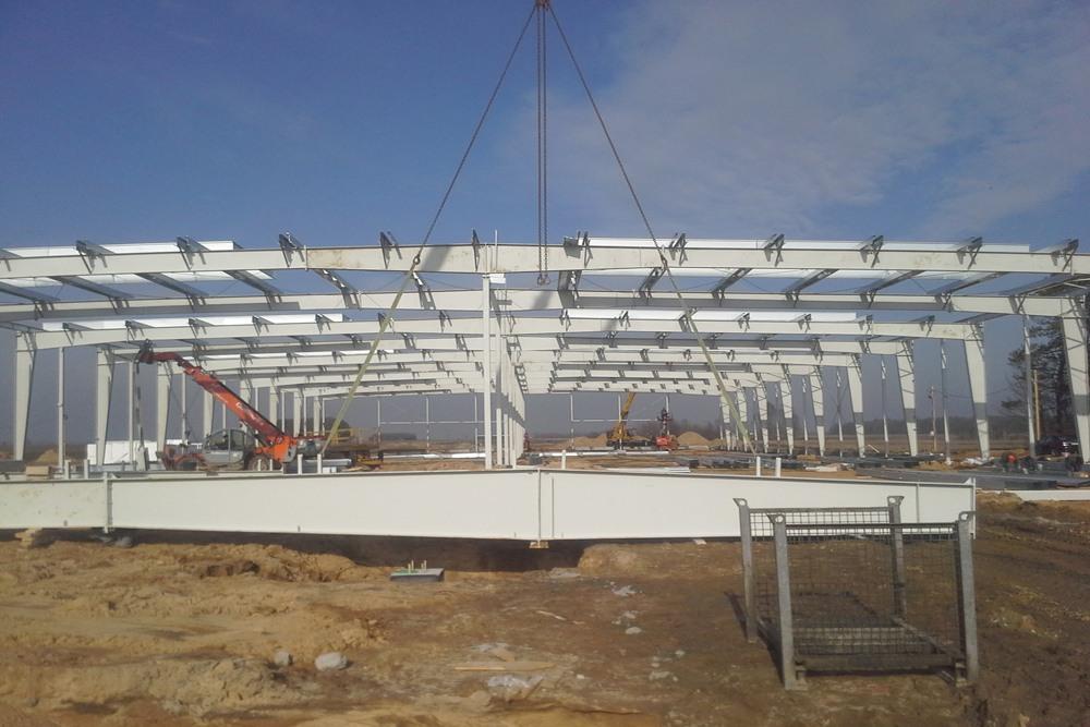 wznoszenie konstrukcji stalowej - hala produkcyjno-magazynowa z budynkiem biurowym, dla Lidermax, Łukowo, woj. mazowieckie