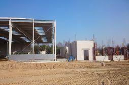 obiekt w trakcie budowy - hala produkcyjno-magazynowa z budynkiem biurowym, dla Lidermax, Łukowo, woj. mazowieckie