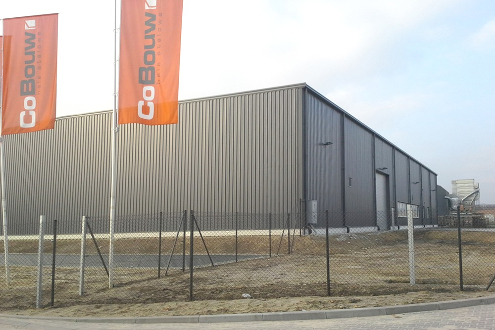 widok ogólny obiektu - hala produkcyjna z częścią biurową, dla Nome, Mników, woj. małopolskie