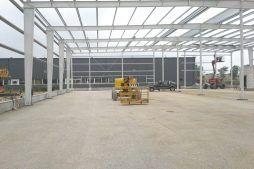 konstrukcja stalowa widziana od wewnątrz 2 - hala produkcyjna z częścią biurową, dla Nome, Mników, woj. małopolskie