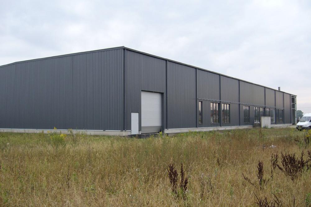 elewacja frontowa - hala produkcyjna z częścią biurową, dla Nome Polska, Mników, woj. małopolskie