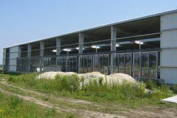 elewacja w trakcie budowy - hala produkcyjna z częścią biurową, dla Nome Polska, Mników, woj. małopolskie