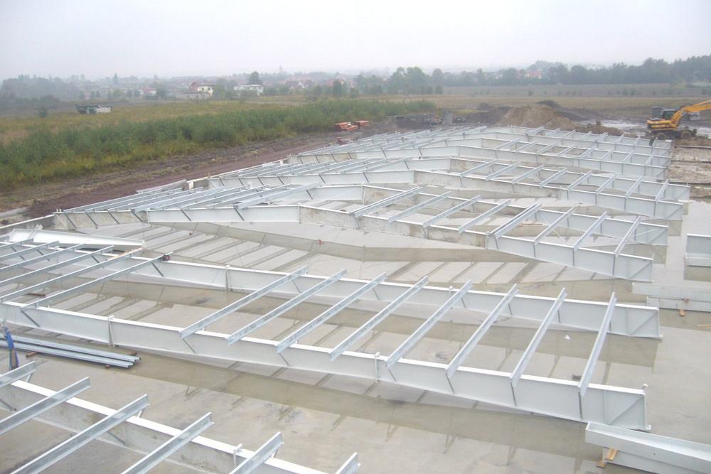 widok z góry - hala produkcyjno-magazynowa z częścią biurową, dla Glass Produkt, Pyskowice, woj. śląskie