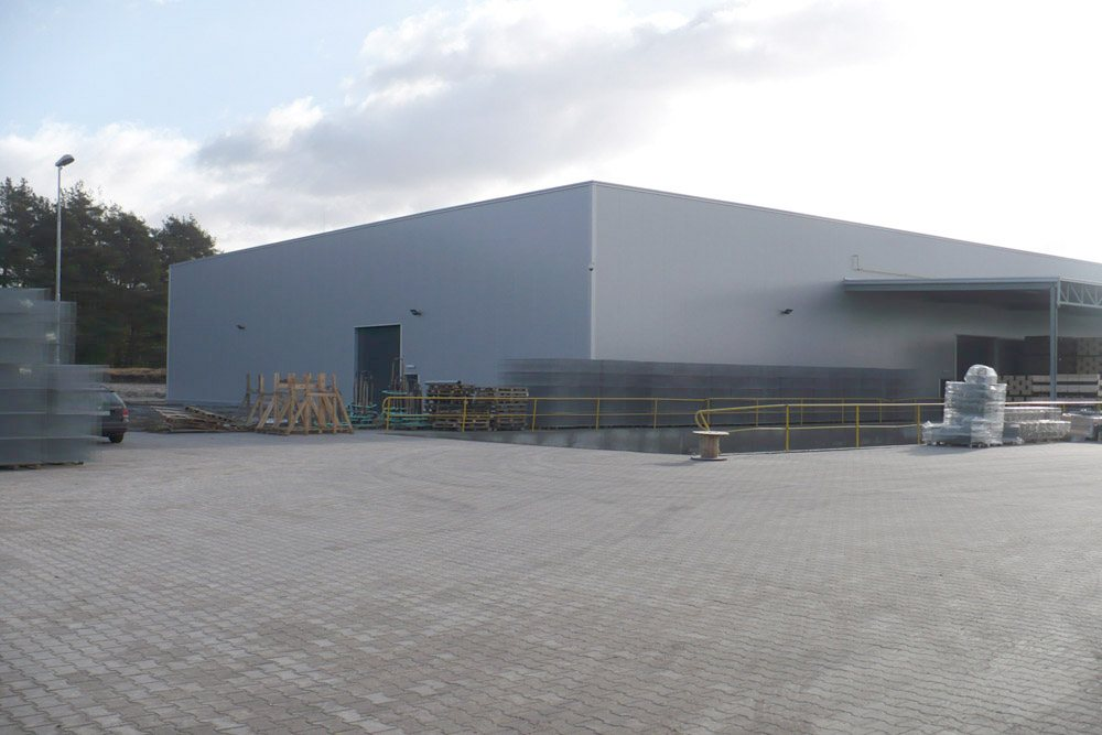 widok ogólny 3 - hala produkcyjna z częścią socjalną, dla HG Poland, Łozienica, woj. zachodniopomorskie