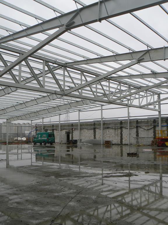 konstrukcja stalowa zadaszenia - hala produkcyjna, dla Filtry Haft, Gorzów Wielkopolski, woj. lubuskie