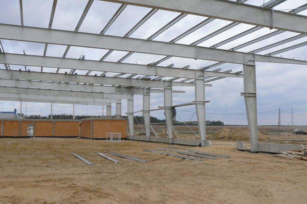 widok konstrukcji stalowej - hala produkcyjna z zapleczem biurowym, dla Wiefferink, Wykroty