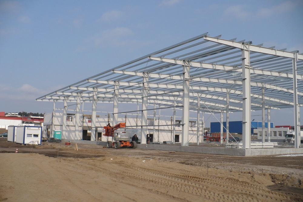 konstrukcja stalowa - hala produkcyjna z częścią biurową, dla Markos, Słupsk, woj. pomorskie