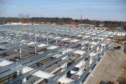 konstrukcja stalowa widziana od góry - hala produkcyjna z częścią biurową, dla Markos, Słupsk