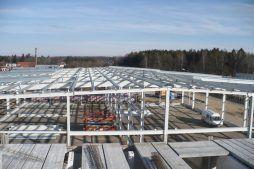 konstrukcja stalowa widziana od góry 1 - hala produkcyjna z częścią biurową, dla Markos, Słupsk