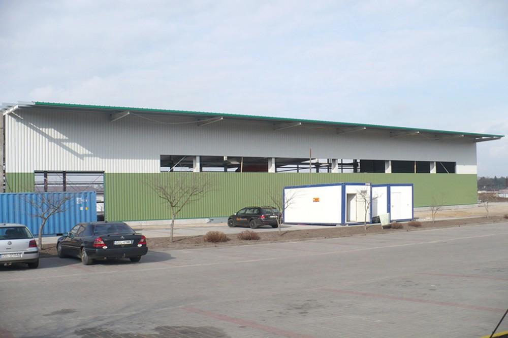 jedna z elewacji 1 - hala produkcyjna z częścią biurową, dla Markos, Słupsk, woj. pomorskie