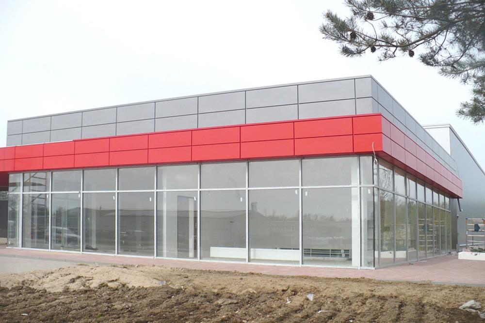 elewacja budynku biurowego - hala produkcyjna z budynkiem biurowym, dla Auto-Hak, Słupsk, woj. pomorskie