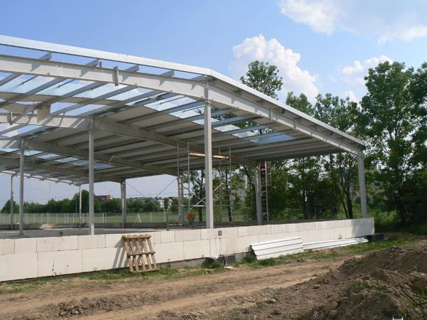 widok konstrukcji stalowej - hala produkcyjna z budynkiem biurowym, dla El-press, Lublin, woj. lubelskie