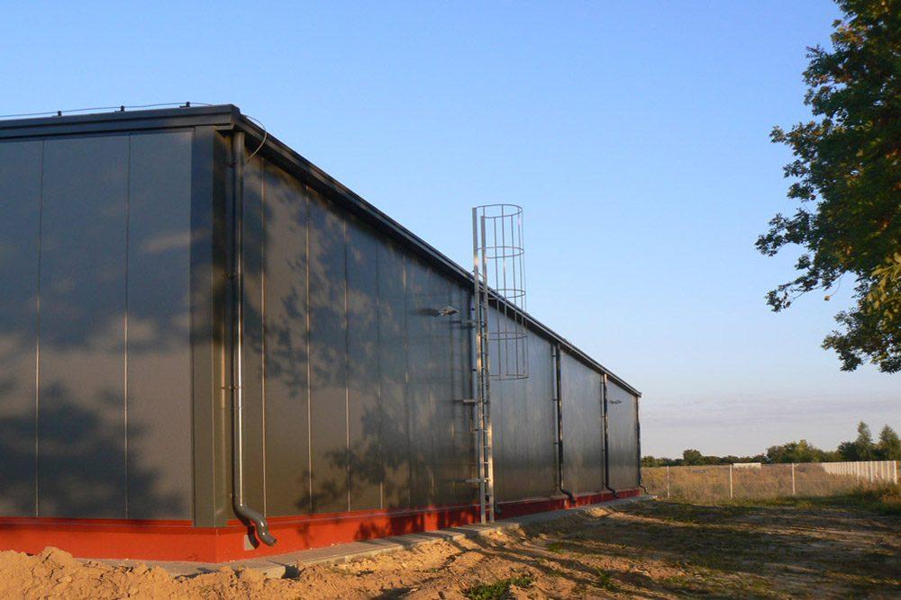 fragment elewacji - hala produkcyjna z budynkiem biurowym, dla El-press, Lublin, woj. lubelskie
