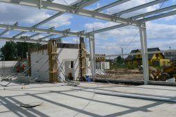 widok konstrukcji stalowej - hala produkcyjno-magazynowa z budynkiem biurowym, dla Viva Plus, Bytom, woj. śląskie