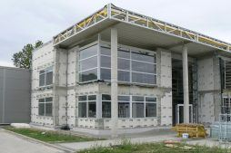 montaż paneli elewacyjnych 2 - hala produkcyjno-magazynowa z budynkiem biurowym, dla Viva Plus, Bytom, woj. śląskie