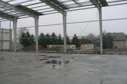fragment konstrukcji stalowej obiektu - hala magazynowa z budynkiem biurowym, dla Tech-Met, Kolonia Sokolniki