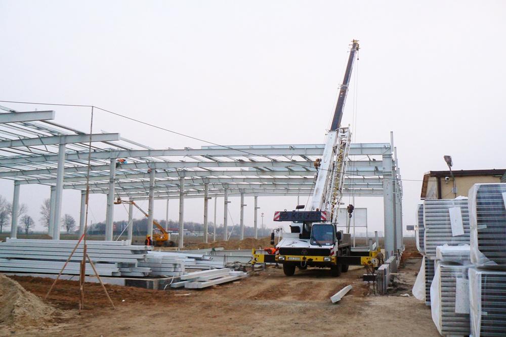 wznoszenie konstrukcji stalowej 1 - hala magazynowa z budynkiem biurowym, dla Agrarada, Domaniów
