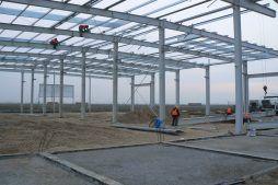 wznoszenie konstrukcji stalowej 2 - hala magazynowa z budynkiem biurowym, dla Agrarada, Domaniów