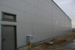 fragment ściany tylnej - hala produkcyjna z częścią biurową, dla Protech, woj. śląskie