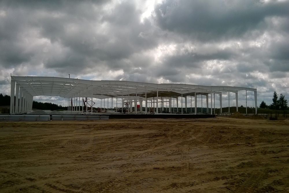 konstrukcja stalowa obiektu - hala produkcyjna z budynkiem biurowym, dla Adams, Mrągowo, woj. warmińsko-mazurskie