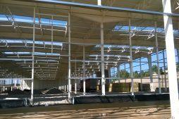 dach budynku z świetlikami - hala produkcyjna z budynkiem biurowym, dla Adams, Mrągowo, woj. warmińsko-mazurskie