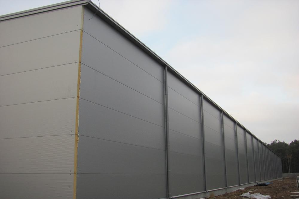 ściana boczna 3 - hala produkcyjna z budynkiem biurowym, dla Meblomaster, Węgrów, woj. mazowieckie