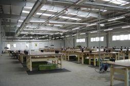 wnętrze hali - hala produkcyjna, dla Niemieckiego Inwestora, Ośno Lubuskie, woj. lubuskie