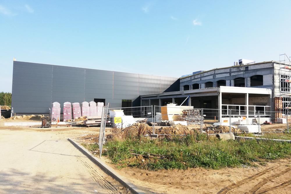 budowa hali Linea - hala produkcyjno-magazynowa z częścią socjalno-biurową, w Koszalinie, dla Fabryki Flag Linea, woj. zachodniopomorskie