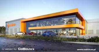budynek-biurowy-MulitiMax,-wizualizacja - hala produkcyjno-magazynowa z częścią socjalno-biurową, budowa pod klucz, dla MUltiMax, przez CoBouw Polska, w Zamosciu, w woj. lubelskim