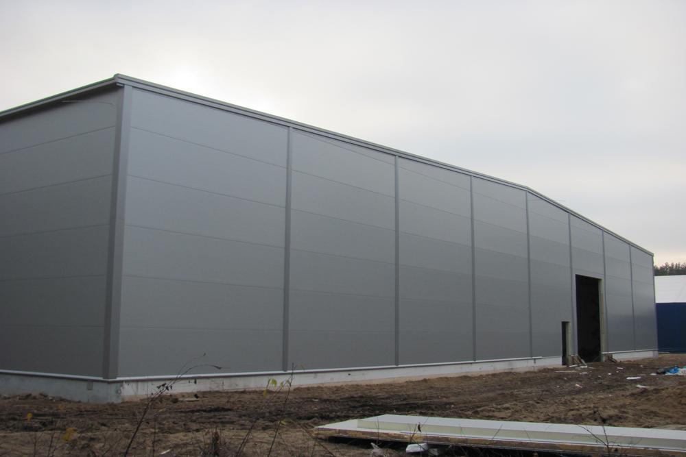 ściana boczna 4 - hala produkcyjna z budynkiem biurowym, dla Meblomaster, Węgrów, woj. mazowieckie
