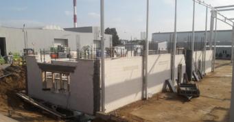 część biurowa obiektu w budowie - hala w konstrukcji stalowej, dla Scania Production Słupsk SA, woj. pomorskie