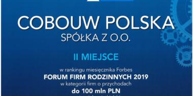 dyplom laureata - Forum Firm Rodzinnych Forbes 2019, II miejsce dla CoBouw Polska
