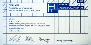 dyplom finalisty w konkursie Architektura Stref ARP