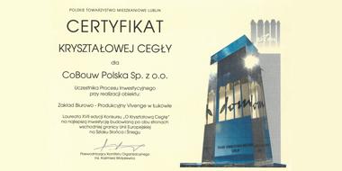 dyplom laureata dla firmy CoBouw - nagroda za projekt i wykonawstwo inwestycji dla Vivenge