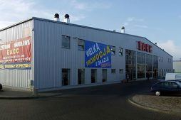 elewacja frontowa - boksy handlowe, dla Centrum Handlowe EACC, Wólka Kosowska, woj. mazowieckie